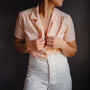 Vintage 1970's Peach Button Up
